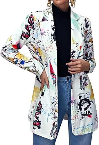 FLYCHEN Chaquetas de Traje y Blazers para Mujer OL Office Lady Chaqueta Floral Coat Casual de Moda Casual Blazers, Blanco Pintada, M
