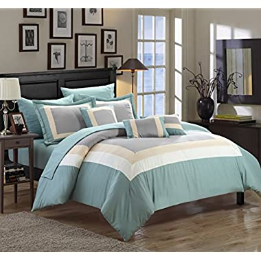 Chic Home Duke 10 Piece Comforter Set Complete Bed in a Bag Pieced Color Block Patterned Bedding with Sheet Set And Decorative Pillows Shams Included, Queen Green