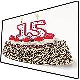 Alfombrilla de ratón (800x400x3 mm) Decoraciones de 15 cumpleaños, Pastel de Chocolate y Cereza con Velas numéricas, Tema de Fiesta s Superficie Suave y cómoda de la Alfombrilla de ratón para Juegos