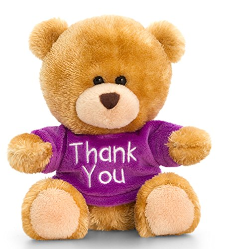 Lashuma pluche beer, Pipp The Bear met Thank You T-shirt paars, pluche beer knuffeldier 14 cm