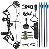 TOPOINT ARCHERY M2 Junior Compound Bow Set Beginners,Youth&Kids Bow Women Bow 17'-27' Draw Length,10-40Lbs Draw Weight,290fps IBO, Limbs Made in USA,Bow Only 2.54lbs,Lightweight Design (Black)