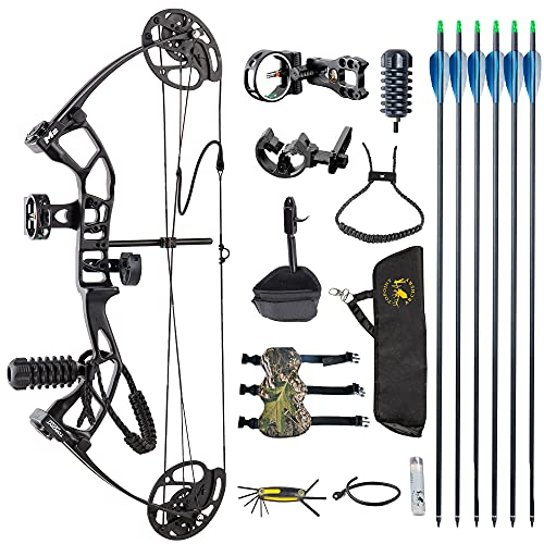 TOPOINT ARCHERY M2 Junior Compound Bow Set Beginners,Youth&Kids Bow Women Bow 17″-27″ Draw Length,10-40Lbs Draw Weight,290fps IBO, Limbs Made in USA,Bow Only 2.54lbs,Lightweight Design (Black)