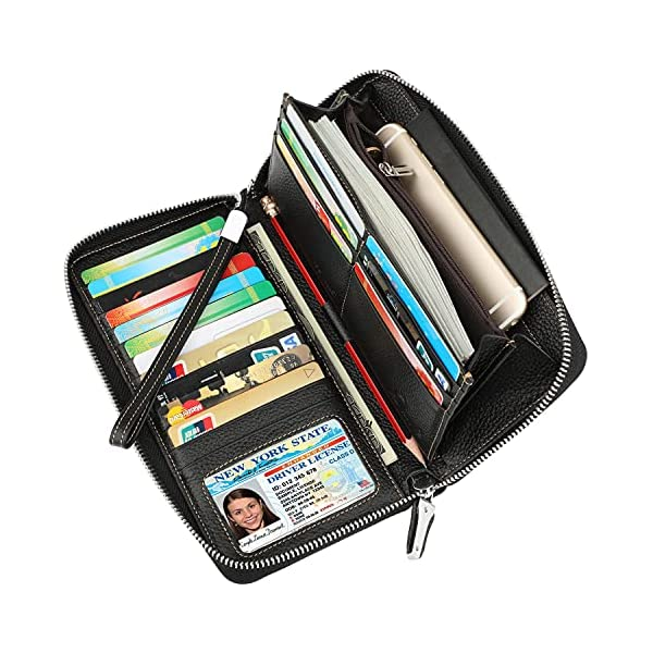 Lavemi Women's RFID Blocking Leather Zip Around Wallet Large Phone Holder Clutch Travel Purse Wristlet 1