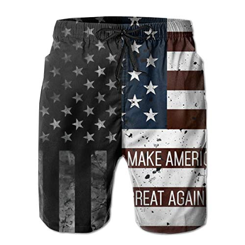 Men's Summer Surf Swim Trunks Quick Dry 3D Printed Beach Board Shorts with Pockets Mesh Lining Swimwear for Teen Boys - Black American Flag and Make America Great Again
