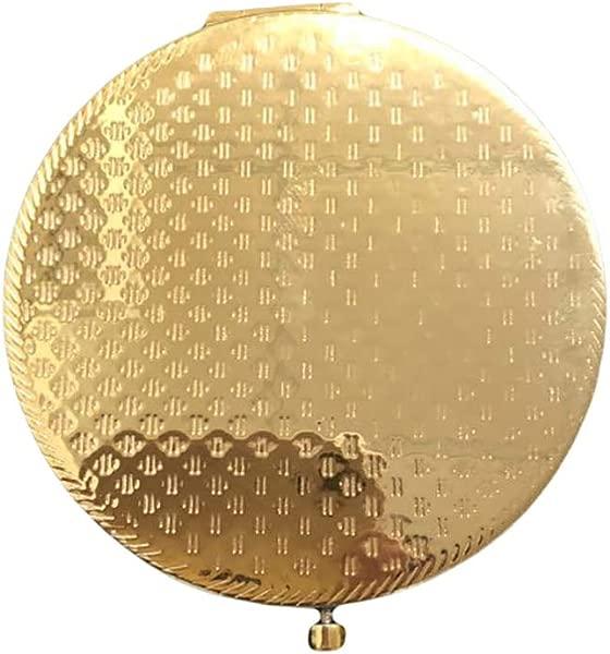复古磨砂圆形口袋化妆镜便携双面折叠放大镜金色盈悦