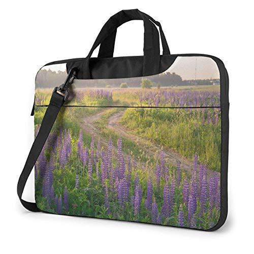 Hdadwy Feld Straße Lupine Pflanze gedruckt Laptop Umhängetasche, Laptop-Tasche Handtasche Business Messenger Bag Aktentasche 14 Zoll