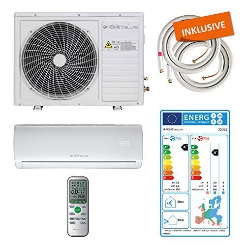 Home Deluxe - Klimaanlage SET Split - Kühlen A++/Heizen A+ - 9000 BTU/h (2.600 Watt) - Kältemittel R32 - Fernbedienung und Timerfunktion - Inkl. komplettem Montagematerial [Energieklasse A++]