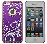 Pandamimi iPhone 5 case - Deluxe Purple Bling Diamond Rhinestone Aluminum Chrome Hard Case Cover Stylwire Pink Heart Stereo Headphones + Screen Protector