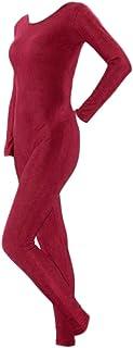 Prettyia 4色6サイズ選べ 全体式 長袖 ボディスーツ ユニタード ラウンドネック 補正下着 ルームウェア 屋内屋外 ヨガ ダンス 体操 速乾性 通気性 伸縮圧着