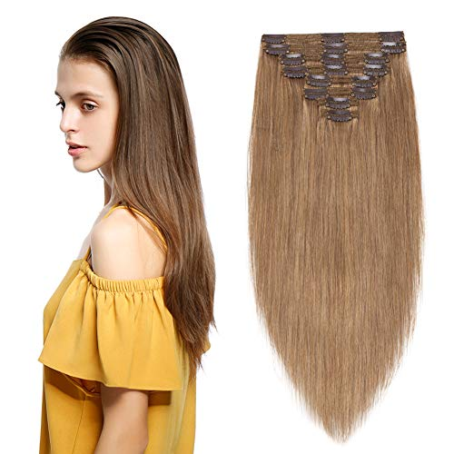 Benehair Double Weft Thick Clip in Human Hair Extensions 18 inch Golden Brown Clip on Soft Straight 7A Remy Hair for Women Full Head 8pcs 18 Clip ins 170g #12