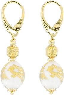 Venetiaurum - Orecchini per Donna Con Perle In Vetro Di Murano E Argento 925 Placcato oro - Gioiello Made In Italy Certifi...