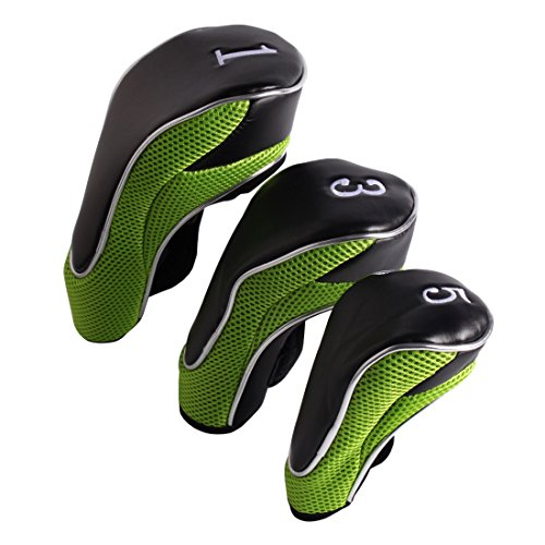 Andux Golf Driver Wood Head Covers 460cc Driver Hook&Loop Set of 3 (Black/Green)