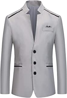 YOUTHUP Mens Slim Fit Blazer Stand Collar 3 Buttons Chic Suit Jacket Lightweight Blazers