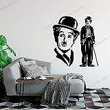 WERWN Pegatinas de Vinilo clásicas Charles Chaplin Retrato Famoso Actor de Flores Retrato Sala de Estar Dormitorio TV Pared Pegatinas de Pared extraíbles Mural