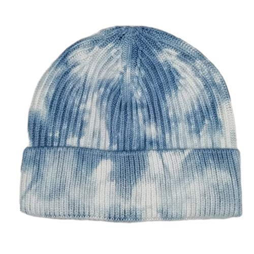 Tie-Dye Knitting Hat Fashion Joker Hat Hip-Hop Dome India Cap Render Cap, Azul