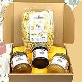 Caja Cata 'Miel del Sur'. Una selección de 3 tarros de cristal de deliciosa miel natural y afrutada, en un elegante paquete. Gran idea para un regalo. Casafolino