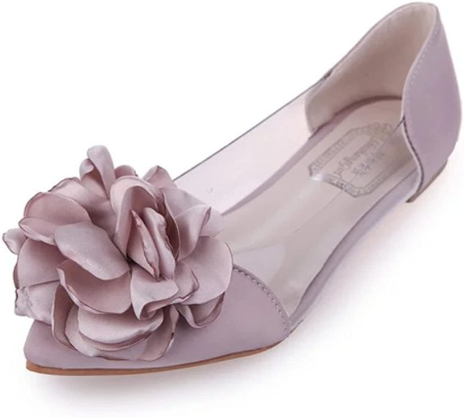Huhuj Xia Chun Flowers Pointed shoes Sweet Sandals Transparent Set of Shallow Flats