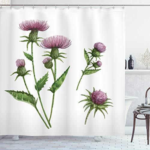 ABAKUHAUS Distel Duschvorhang, Heilende Kräuter Konzept, mit 12 Ringe Set Wasserdicht Stielvoll Modern Farbfest & Schimmel Resistent, 175x240 cm, Lila Taupe Farngrün Weiß