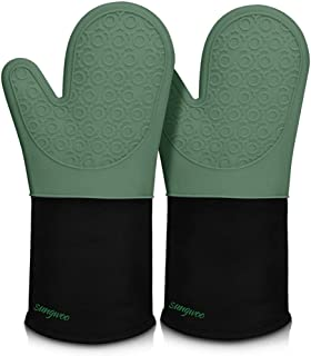 Extra Long Silicone Oven Mitts, sungwoo Durable Heat Resistant Oven Gloves with Quilted Liner Non-Slip Textured Grip Perfe...