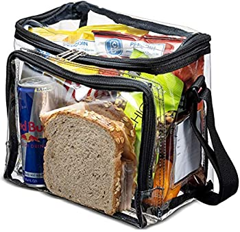 Stadium Approved Clear Lunch Bag with Adjustable Strap Front Storage Compartment and Mesh Pockets - See Through Zippered Clear Tote Bags for Work School Concerts Sports Games Bags