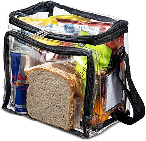 Stadium Approved Clear Lunch Bag with Adjustable Strap, Front Storage Compartment, and Mesh Pockets - See Through Zippered Clear Tote Bags for Work, School, Concerts, Sports Games Bags