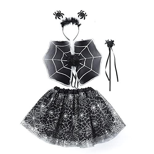 IMEKIS Falda Tutú para Niñas Disfraz de Halloween Navidad de Cosplay Araña Murciélago Reno Disfraz Elegante con Diadema Alas Accesorio de Hada Traje para Fiesta de Cumpleaños Negro 3-8 años