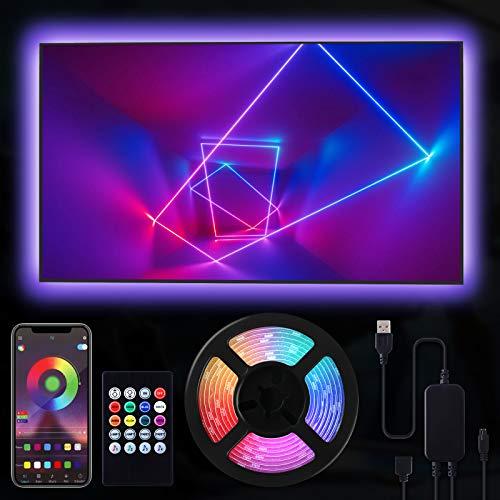 RIWNNI LED TV Retroilluminazione 3 metri, Smart Bluetooth Striscia LED RGB USB Alimentata, Controllo App e Telecomando, Impermeabile Strisce LED per a TV da 40-65 Pollici, PC Monitor e Camera da Letto