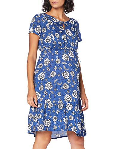 Queen mum Dress Woven Nurs SS AOP Beiging Robe, Multicolore (Sodalite Blue P073), 36 (Taille Fabricant: X-Small) Femme