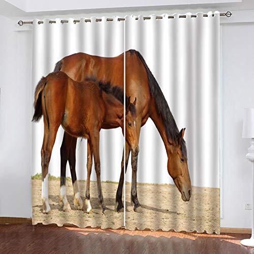 WLHRJ Cortina Opaca en Cocina el Salon dormitorios habitación Infantil 3D Impresión Digital Ojales Cortinas termica - 280x245 cm - Caballo marrón Animal