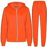a2z4kids Kids Girls Boys Plain Tracksuit Hooded Hoodie Bottom Jog Suit Joggers 7-13 Year Neon Orange