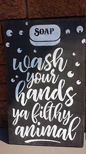 Norma Lily WASH uw handen u vuile AnimalBadkamer Humor Teken Gag Gift Outhouse Sauna Teken