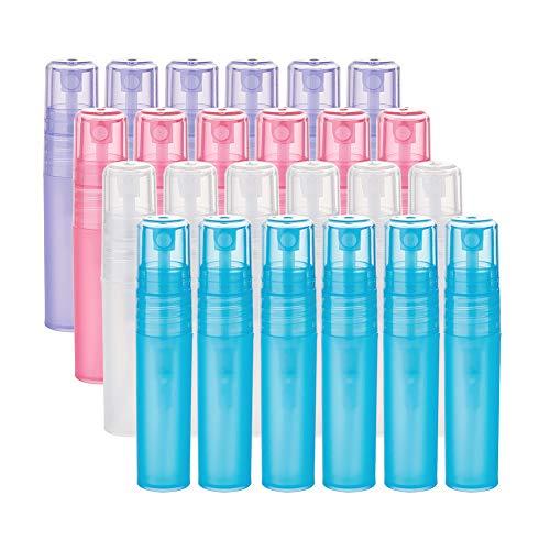 BENECREAT 24-er Pack 5ml/0.17oz Mini-Sprühflasche aus gefrostetem Kunststoff 4-farbige Leere Parfüm-Probenflasche für Duftstoffe, ätherische Öle