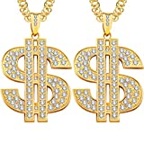 2 Pieces Gold Plated Chain for Men with Dollar Sign Pendant Necklace, Hip Hop Dollar Necklace (Dollar Necklace)