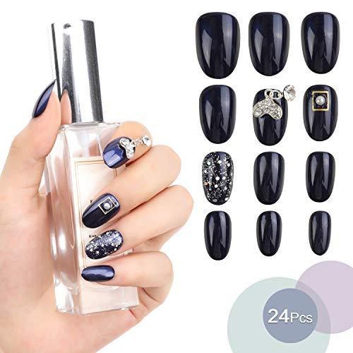 MWOOT Faux Ongles (24 Pièces), Ongles Artificiels pour Manucure de Mariées Mariage, Ongles Décorés - Press On Nails Glitter Dark Blue