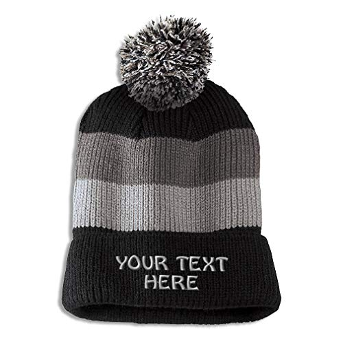 Vintage Winter Removable Pom Pom Beanie Custom Personalized Text Name Embroidery Acrylic Skull Cap Hat for Men & Women Black Stripes
