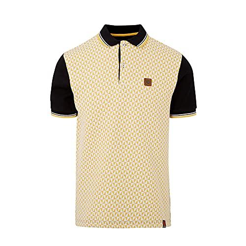 Photo of Trojan Records Mens Knitted Jacquard Diamond Polo Shirt Black/Yellow M