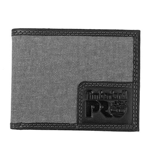 Timberland PRO Men's Canvas Leather RFID Billfold Wallet with Back ID Window, charcoal, One Size