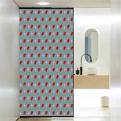 PikaQ Stained Glass Window Film, Ladybugs Bugs and Flower Pattern Flora and, Static Cling Decor Window Sticker for Home and Offic W23.6 x L78.7 Inch