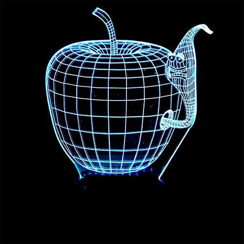 baby Q LED 3D Illusion Lampe, Lampe de Bureau de Contact coloré d'Apple, lumières visuelles acryliques, lumières actionnées par USB