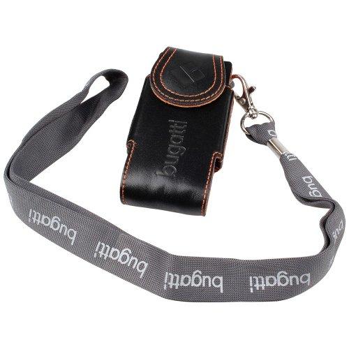 foto-kontor Bugatti Fashion Case Leder Tasche Flip Tasche schwarz-orange für SonyEricsson W880i W890i W350i W302