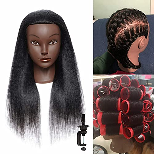 AILIF mannequin head with human hair with stand (18Inch) Natural Long Hair Real Hair 100% Afro Human Hair Maniquins Head Hairdresser Cosmetology Mannequin Manikin Training Head Hair and Clamp Holder