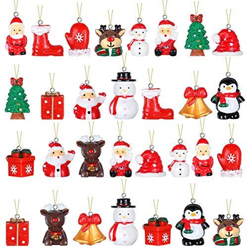 30 Pieces Mini Resin Christmas Ornaments Small Mini Christmas Tree Decorations Miniature Pendant Decoration Tiny Christmas Tree Decorations for Mini Christmas Tree Decorations