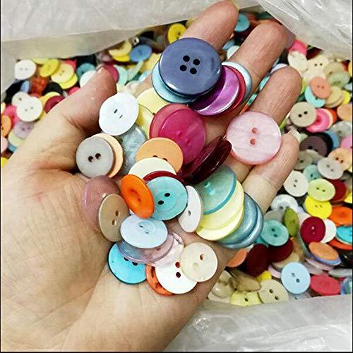 HL-PYL 100pcs / Lot 9-20mm Zufalls Styles Mix Farben Kunststoffknöpfe Werkzeuge DIY Patchwork Craft Harzknopf Bekleidung Zubehör Nähen