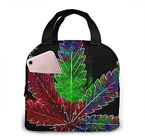 Bolsa de almuerzo con plantas de marihuana para niños, niñas, hombres, mujeres, lonchera con aislamiento reutilizable, bolsa de asas, contenedor de comida para el trabajo, viajes, picnic