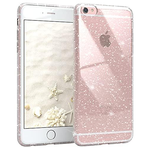 EAZY CASE Hülle kompatibel mit iPhone 6 / 6S Schutzhülle mit Glitzer, Handyhülle, Schutzhülle, Back Cover mit Glitter, TPU/Silikon, Transparent/Durchsichtig, Transparent