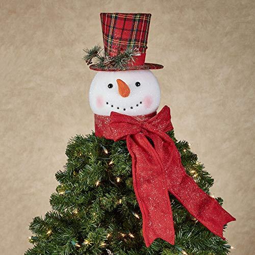RAZ Imports Snowman Head Tree Topper Christmas red Plaid