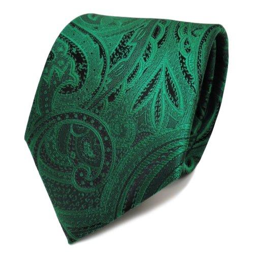 TigerTie Elegante Krawatte grün smaragdgrün schwarz Paisley