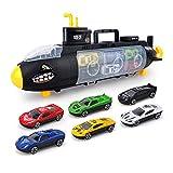 WDXIN Infantil Juguete Garaje Nave de Guerra Deslizante Submarino 6 carros de aleación Vehículo Militar Tanque Modelo Regalo Chico,B