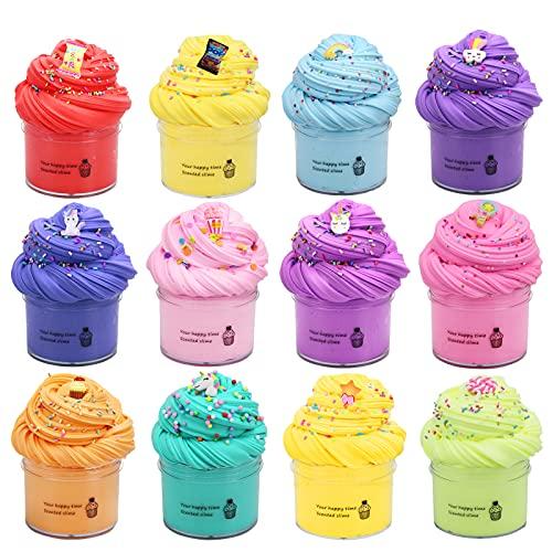SWZY Butter Slime Kit, fluffy slime, slime kit, con unicorno, torta, lecca-lecca, gelato, zucchero...melma di nuvole di argilla morbida, regalo giocattolo di fanghi fai-da-te 12 colori