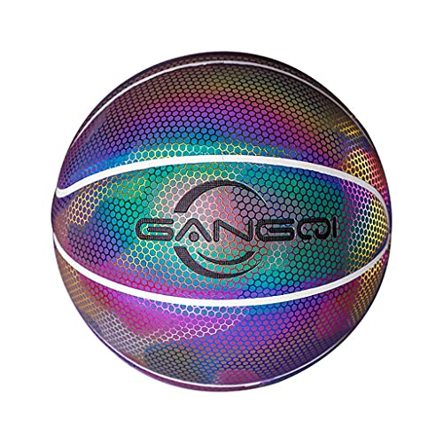 YCX Baloncesto reflectante, Baloncesto luminoso PU Baloncesto luminoso en la oscuridad Baloncesto-luminoso juguete regalo para niños Tamaño oficial (tamaño 7)